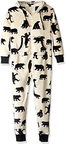 Adult Hooded Fleece (Hatley Damen Hooded Fuzzy Fleece Black Bear Family Jumpuits Einteiliger Schlafanzug, Wei (Adult Jumpsuit Bears On Natural), L)