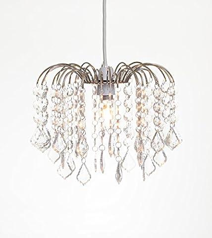 Tear Drop Chandelier Ceiling Pendant Light Shade Acrylic Crystal Bead - White