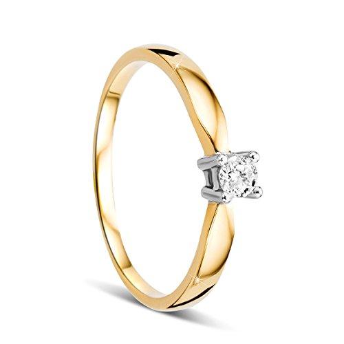 Orovi Damen Verlobungsring Gold Solitärring Diamantring 14 Karat (585) Brillianten 0.10crt Zweifarb/Weißgold und Gelbgold Ring mit Diamanten Ring Handgemacht in Italien (Lila Diamant-herz-ring)
