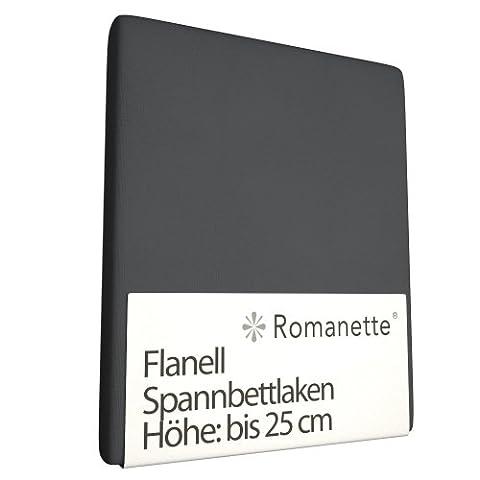 Drap-housse Romanette Anthracite (Flanelle)-180 x 200 cm