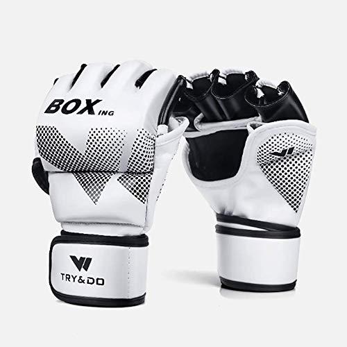 SNOWWOLF Halbe Finger-Boxhandschuhe Erwachsene Free Fight Muay Thai WWE Fighting Punch Half Finger Gloves,White,L