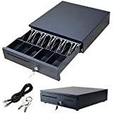 KingSaid Heavy Duty Cash Drawer POS Receipt Printer Cash Register Drawer with 5 Bills & 5 Coins Removable Coins Cash Tray