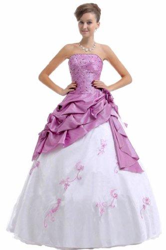 Faironly Frauen trägerlosen Abendkleid M37 (XXL, Weiß Lavendel)