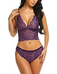 d3a610445ffa31 Damen Neckholder Dessous Set Sexy Bikini Halter Spitze BH Lingerie  Unterwäsche Nachthemd Negligee String Reizwäsche