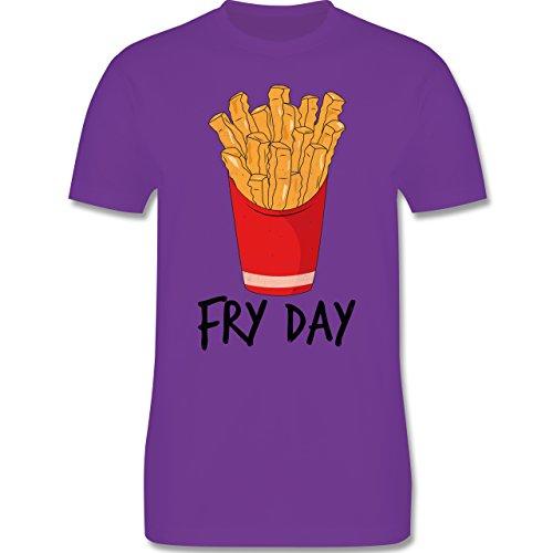 Shirtracer Statement Shirts - Fry Day - Pommes Frites - Herren T-Shirt Rundhals Lila
