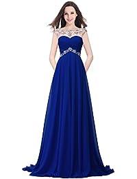 Babyonlinedress Vestido largo de chatones artificiales para fiesta de noche y boda estilo A-line y elegante cuello bateau sin mangas espalda semicuebierta