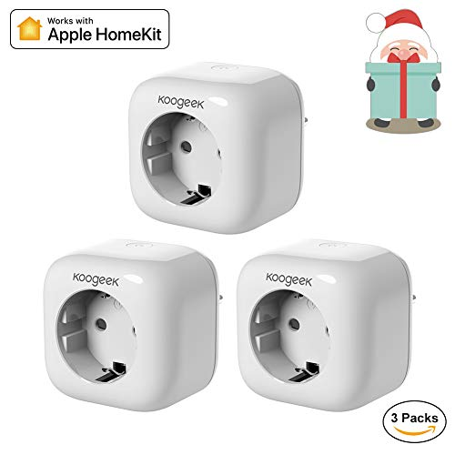 Smart Plug Koogeek Intelligente Wifi Steckdose Kompatibel mit Alexa/Echo mit Apple HomeKit mit Google Assistant mit Siri Remote Control auf 2.4 GHz Netzwerk (3 Packs)