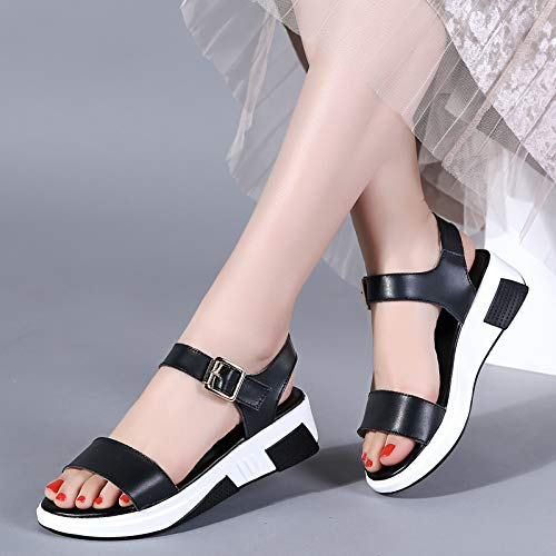 Uhrtimee 2019 Summer New Fairy Wind Fashion Flat Sandals Female Korean Version with Thick Bottom Wild Student Sports Shoes, 38, Black -