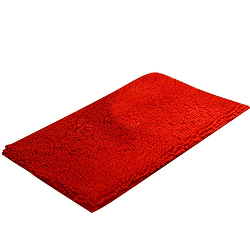 Baijiaye Alfombra de Baño Antideslizante Absorbente Suaves Alfombrilla Chenilla para Bano Cocina Rojo...