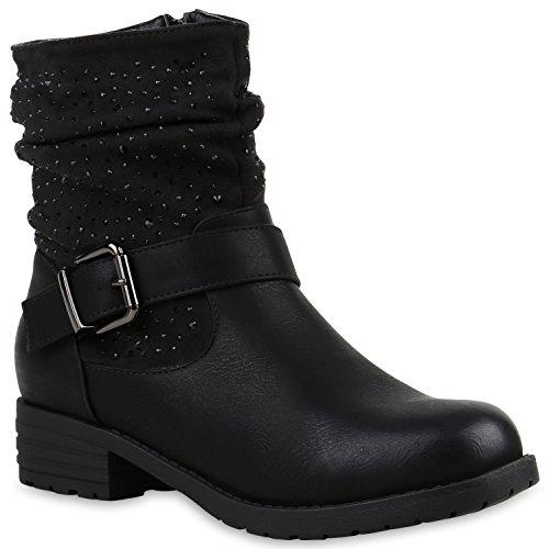 Stiefelparadies Damen Stiefeletten Nieten Biker Boots Gefütterte Stiefel Leder-Optik Schuhe Strass Schnallen Zipper Übergrößen Cut Outs Fransen Flandell Schwarz Avion