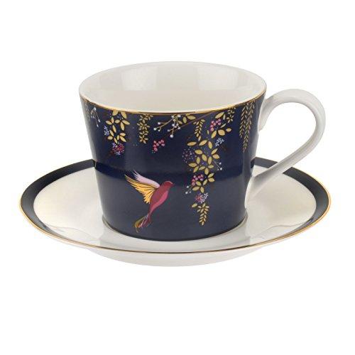 Sara Miller für Portmeirion Chelsea Tasse und Untertasse, keramik, navy, 230 x 185 x 95 cm (Navy Keramik)