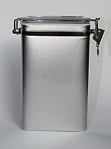 Aroma boîte avec anse de fermeture, argent mat (pour max. 500 g de thé)