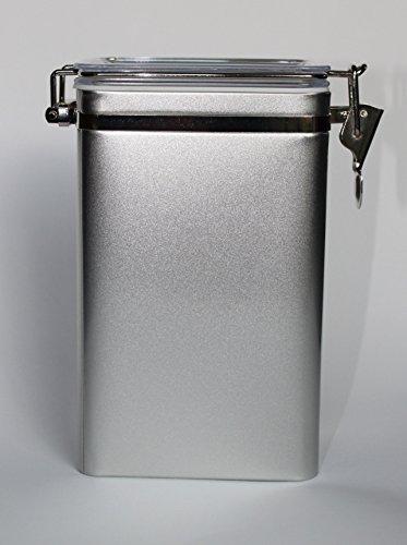 Dose mit Aroma-Bügel-Verschluss, matt-silber (für max. 500g Tee)