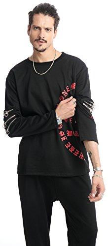 Pizoff Unisex Hip Hop urban basic Langärmliges Jersey Sweat T-shirt mit Gotisch Druck Reißverschluss und Seil hinter (Tank Top Kids Olive)