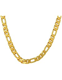 DzineTrendz 24KT Gold Covered 18 Inch/ 67 Gms Heavy Figaro Stylish Fashion Chain Necklace For Men Women Boys Girls
