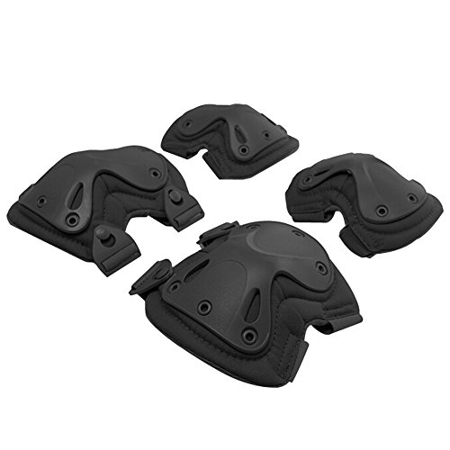 G-i-Mall 2 Packs Protective Safety Gear Elbows Knees Pads Guard Set for Outdoor Tactical Combat Reality CS Game Cycling Roller Skating Scooter Sports-Black