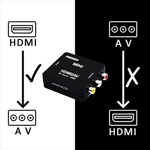 HDMI a AV RCA Adaptador  NIERBO Conversor de señal Compatible HDMI  Soporte PAL / NTSC Interruptor