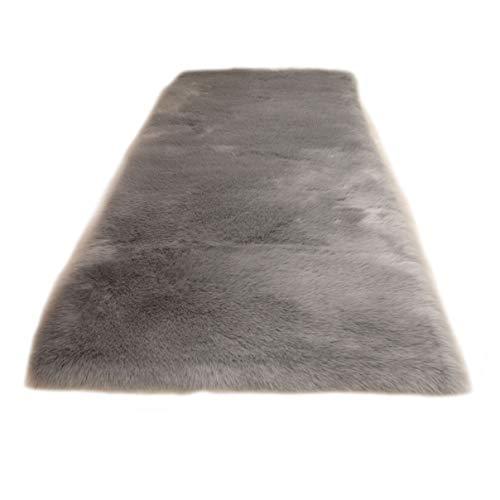 Cumay faux tappetto di pelle di pecora tappeto , 80 x 180 cm, imitazione lana, adatto per tappeto per soggiorno, lunga pelliccia morbida, soffice, tappetino per il letto, divano (grigio, 80 x 180 cm)