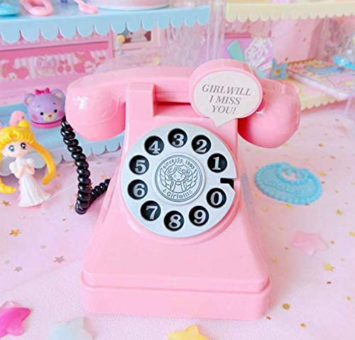 CHENFUI Kunststoff Telefon geformt Sparschwein Münzen Spardose Penny Banken(Pink)