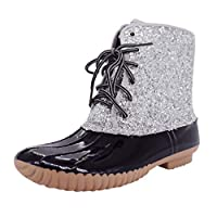 BALUOBO Wellies Wellington Boots Waterproof Working Boots for Ladies Womens Sequin Rain Boots Retro Lace Up Chukka Boots Western Bikerboots Chelsea Boots Slip On Boots