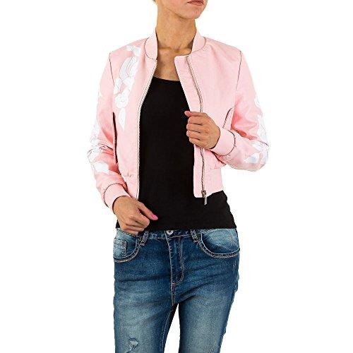 Gemusterte Lederoptik Jacke Für Damen , Rosa In Gr. 40 bei Ital-Design