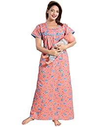 Soulemo Women's Pure Cotton Feeding Nighty/Maternity Dress for Post & Pre Pregnancy Wear.