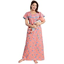 Soulemo Women's Pure Cotton Feeding Nighty/Maternity Dress for Post & Pre Pregnancy Wear. 399