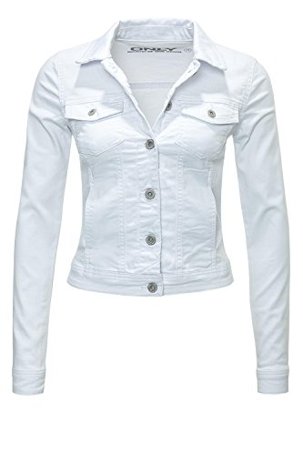 Only Damen Jeans-Jacke Westa Soft White Jacket (M, Weiß) (Jacke Jean Denim White)