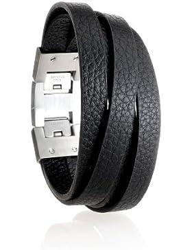 Karisma Herren Leder Armband Schwarz - mit Ledersträngen Breite 20mm - Edelstahl Verschluss SB9265BK