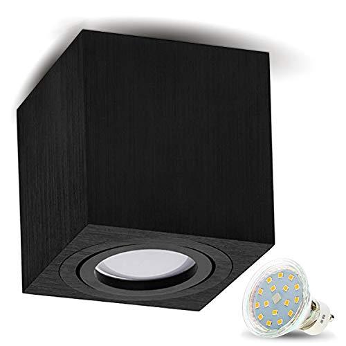 JVS Aufbauleuchte Aufbaustrahler Deckenleuchte Aufputz LED 4W Warm-weiß Milano GU10 Fassung 230V Eckig Schwarz schwenkbar Deckenleuchte Strahler Deckenlampe Aufbau-lampe Downlight aus Aluminium