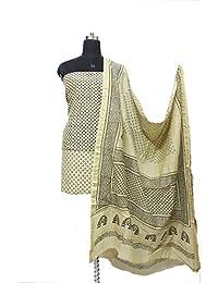 Gleamberry Womens Cream Colour Block print Maheshwari Chanderi Dress Material Set