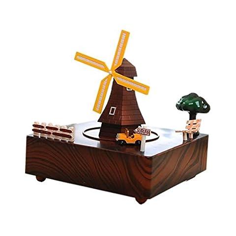 DONG Classique Style Windmill Musique Décoration Clockwork Music Boxes