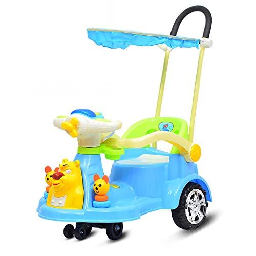 Veicoli a spinta e ruote Torsione Auto per Bambini Ruota Universale Auto Yo 1-3 Anni Scooter per Bambini Guardrail Cintura Spinta A Mano per Bambini Carrello Multifunzione con Tenda da