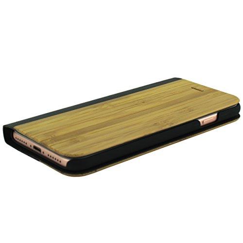 Iphone 8 Echtholz und Echtleder Luxus Hülle mit Magnetverschluss Case Cover inkl. Panzerglas Holz Etui Bumper Flip Hülle Book Tasche Braun Brown Wood schwarz holz glatt