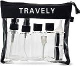 Travely Premium Kulturbeutel - 1L große Kosmetiktasche mit Reiseflaschen Set - ideal als Handgepäck im Flugzeug - Transparent