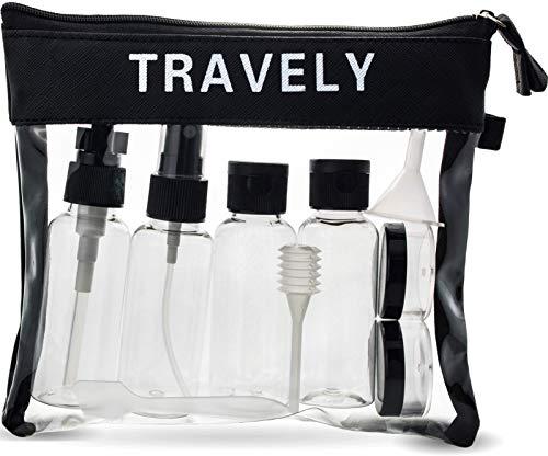 Travely - Transparenter Kulturbeutel 1l - mit Reiseflaschen Set bis 100ml (schwarz) -