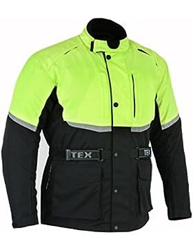 Texpeed - Chaqueta de motociclismo impermeable - Con protectores - Negro / reflectante - M-12XL