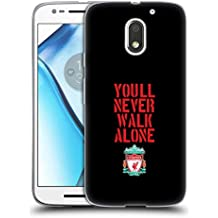 Official Liverpool Football Club Stencil Black Crest You'll Never Walk Alone Soft Gel Case for Motorola Moto E3