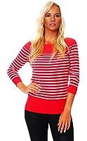 4869 Fashion4Young Damen Carmen Strickpulli Pullover mit Streifen aus feinem Strick 7 Farben