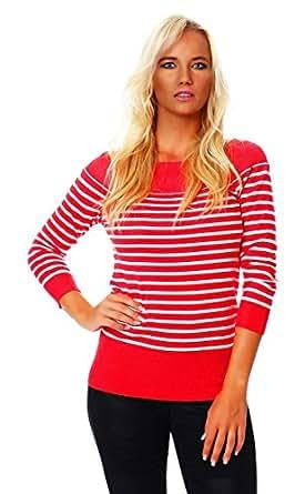 4869 Fashion4Young Damen Carmen Strickpulli Pullover mit Streifen aus feinem Strick 7 Farben (36/38, Lachs Weiß)