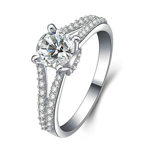 (Custom Ringe)Adisaer Ring 925 Sterling Silber Damen Vier Klaue Kristall Zwei Linien CZ Verlobungsring Größe 64 (20.4) Kostenlos (Hund Kostüm Tauchen)