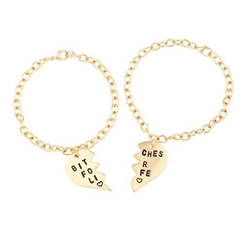 *LUX Zubehör Bitches für Life Herz BFF Best Friends Forever Armband Set (2PC)*