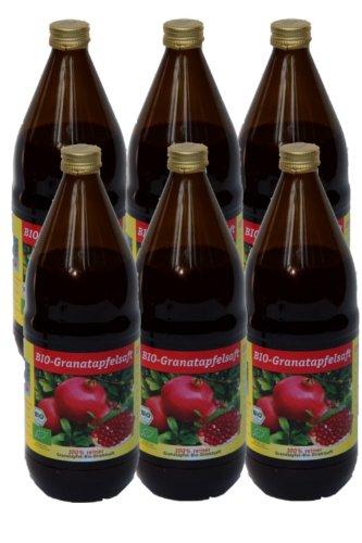 Bio Granatapfel Saft, 100 % Direktsaft in der 1000ml Glasflasche, 6 x 1000ml