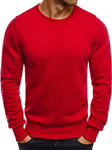 OZONEE Herren Sweatshirt Langarmshirt Pullover Warm Basic J. STYLE 2001-10 L ROT (Jacke Warme Roten Pullover)