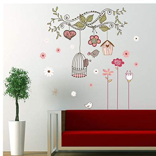 peel and stick wall decals wall stickers baby room decorations flower bird cage house sticker 100x72cm -