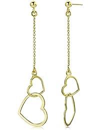 Miore Damen-Ohrhänger Ohrring Doppelt Herz 375 Gelbgold - MGM903E