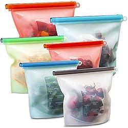 Angker Lot de 6 sacs de conservation alimentaire réutilisables en silicone de qualité alimentaire, respectueux de l'environnement et sans BPA, pour légumes, fruits, micro-ondes et congélateur 1000 ml