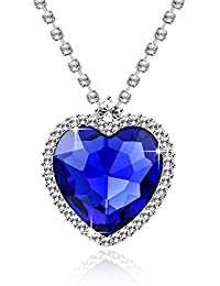 Yellow Chimes The Blue Ocean Heart Austrian Crystal Pendant with Studded Chain for Girls and Women. Perfect to gift!