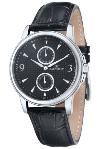 Thomas Earnshaw Men's 'FLINDERS' Quartz Stainless Steel and Leather Casual Watch, Color Black (Model: ES-8026-01)