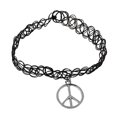 Signo de la paz Gargantilla - SODIAL(R) elastico Boho tatuaje Gargantilla tramo Collar Negro Retro Henna Vintage gotico Signo de la paz
